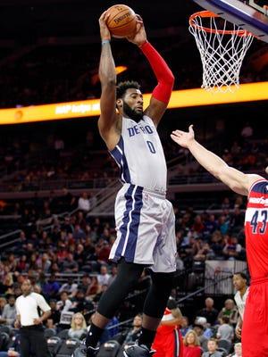 Detroit Pistons center Andre Drummond (0) has been dominant rebounding this season.