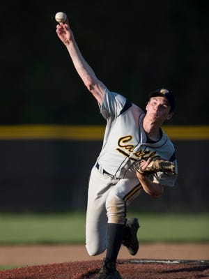 Castle's Zach Messinger (27) pitches the ball against Harrison at the Harrison baseball field on Tuesday, May 1, 2018. Castle defeated Harrison 10-0 in five innings.