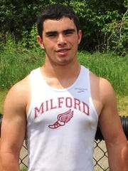 Milford's Jacob Ogg set a new sophomore school record in the discus (143-7) against Pinckney.