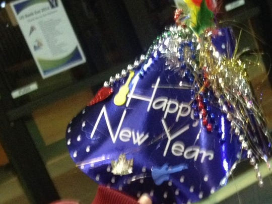 A Happy New Year party hat at a 2014 U.S. Bank Eve event in Green Bay.
