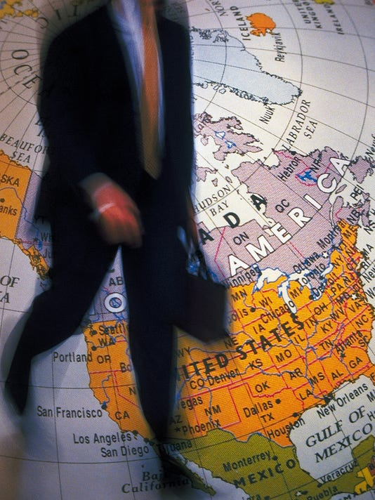 Businessman and globe, CG, composition, blurred motion