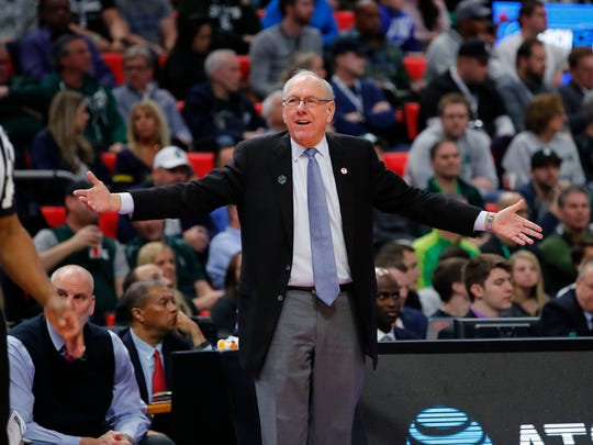 Syracuse coach Jim Boeheim's team received the last at-large berth in the NCAA Tournament, but has played its way into another Sweet 16.