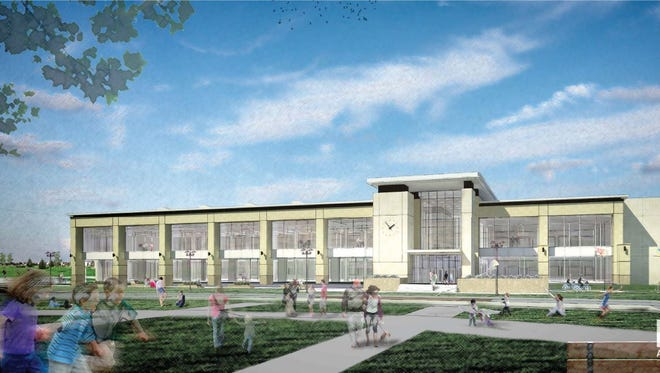 A rendering of the possible new Ankeny Library in the Prairie Trail area. The library would open in 2019, dependent on a bond referendum.
