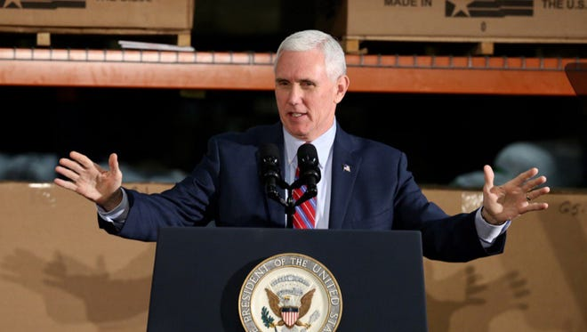 Vice President Mike Pence at a rally to promote the repeal and replace of Obamacare in Jeffersontown on Saturday.