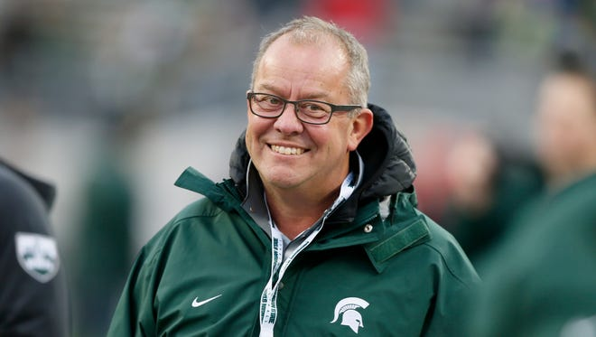 Michigan State Athletic Director Mark Hollis on the sidelines in 2015 in Columbus, Ohio.