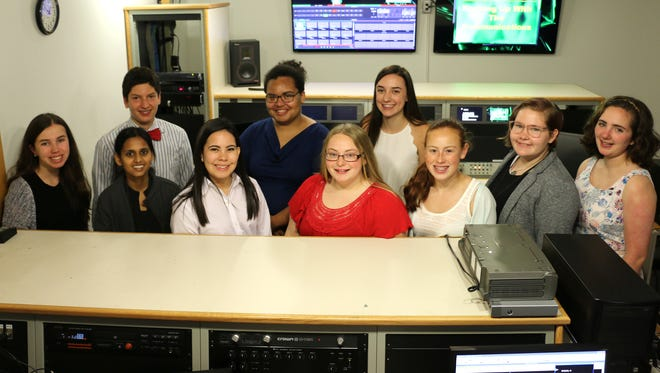 Misericordia University hosted high school students for the Communications and Media Career Exploration Camp in June. Participating in the annual camp, first row, from left, are Lizzie Zonarich, Harrisburg, Pa.; Sona Benbow, New Providence, N.J.; Claudia Rosado, Allentown, Pa.; Sierra Crane, Troy, Pa.; Kerrin Russo, Garden City, Long Island, N.Y.; Olivia Heise, Tunkhannock, Pa., and Madeline Spila, Springville, Pa.; second row, Alfredo Pratico, Fairmount, Philadelphia, Pa.; Kailene Nye, Lebanon, Pa., and Haley Williams, Reading, Pa.