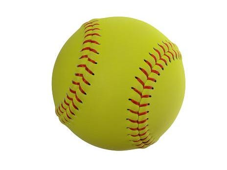 Softball on clear white background.