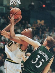 1996-97: Michigan 85, MSU 65, Feb. 1, 1997 – MSU/U-M get into scrap with foul on Polonowski, next-to last loss by Spartans in series before taking off.  Michigan's Maceo Baston, left, is fouled going to the basket by Michigan State's Steve Polonowski (35) during the first half of their Big 10 rivalry Saturday, Feb. 1, 1997, in Ann Arbor, Mich.