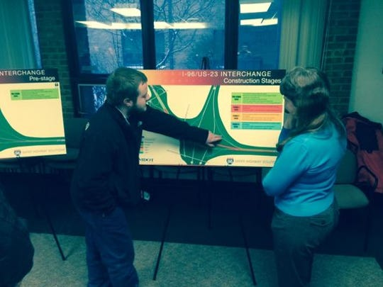 MDOT officials met with the public to discuss plans for the I-96/US-23 interchange.