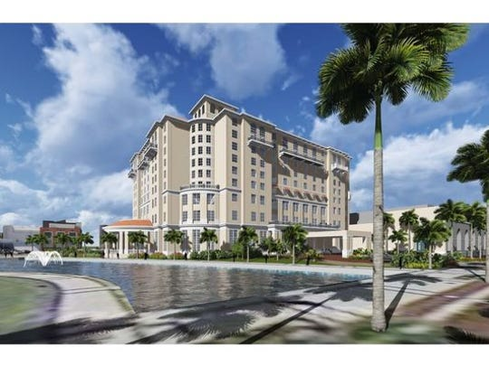 A rendering of the Sheraton Harborside Hotel and Convention Center. Chris Freeman, of Freeman & Hasselwander Resort Properties, has taken over the project but intends to keep the same design.
