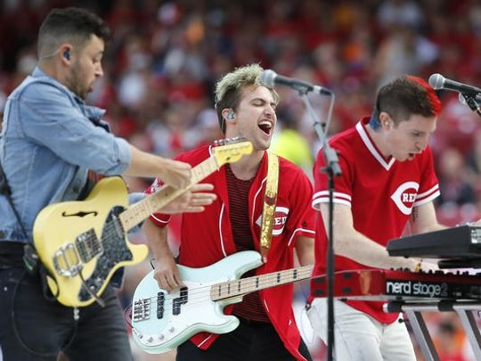 Walk the Moon performs before the Home Run Derby, Monday,