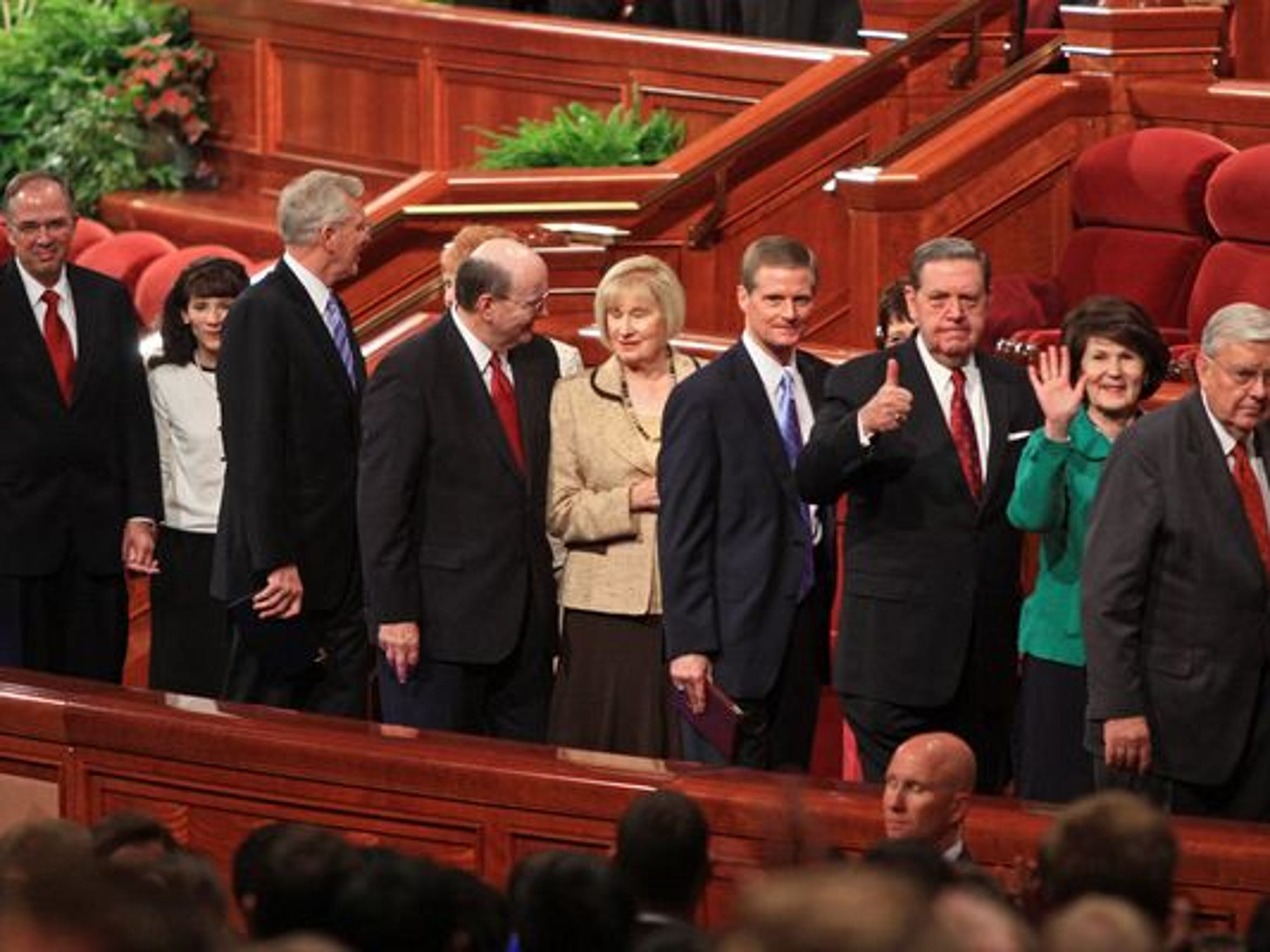 The Quorum of the Twelve Apostles of The Church of Jesus Christ of Latter-day Saints leave the Conference Center in Salt Lake City following a session of the church's General Conference in October 2011.