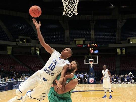 MTSU guard Jaqawn Raymond (10) helped the Blue Raiders make it back to the NCAA Tournament..