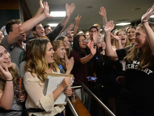 Chelsea Clinton greets fans on Thursday, Sept. 22,