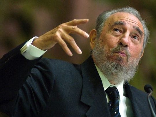 Cuban President Fidel Castro during his closing speech