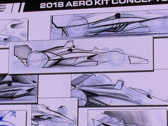 An artist's sketches of the 2018 aerokit concepts for IndyCar.