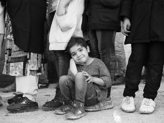 An Afghan girl at the Moria refugee camp in Lesvos,