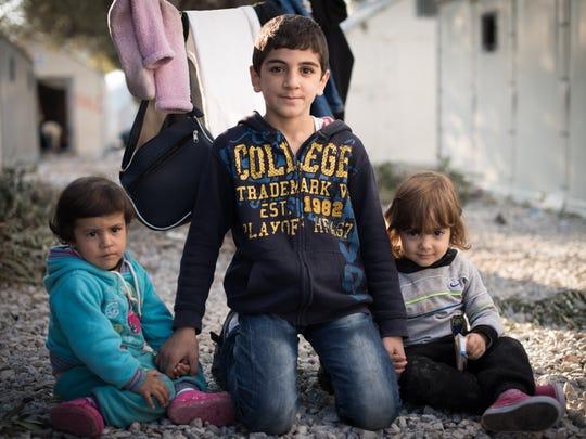 Syrian children at the Kara Tepe refugee camp in Lesvos,