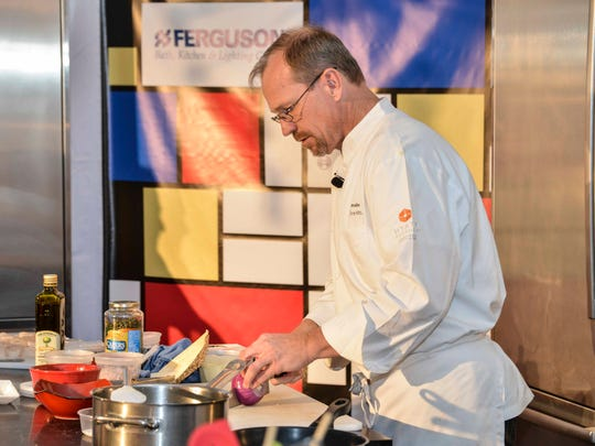 Chef Chris Mitchum of the Hyatt Regency in Indian Wells demonstrates at CAMP.