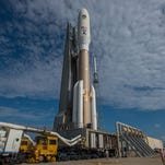 A United Launch Alliance Atlas V rocket with the Navy's fourth Mobile User Objective System (MUOS-4), today rolled from the Vertical Integration Facility to the pad at Cape Canaveral Air Force Station's Launch Complex 41.
