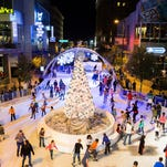 Ice Skaters take to the ice at the annual CitySkate ice rink at CityScape Phoenix, located in the middle of Central Avenue.
