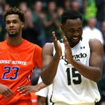 CSU Rams forward Tiel Daniels celebrates late in the second overtime of Colorado State's 97-93 win over the Boise State Broncos on Wednesday, Feb. 10 at Moby Arena.
