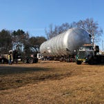 The contained burn chamber that will be used by Explosive Service International to dispose of M6 propellant and Clean Burning Igniter continues its journey through Haughton along  Highway 157 to Louisiana National Guard's Camp Minden in Minden, Feb. 11, 2016.