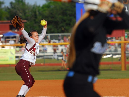 Astronaut high starting #16 Brooke Kershner fires a pitch  during Thursday nights game against Rockledge held at the Astronaut high softball field  .  Craig Rubadoux FLORIDA TODAY