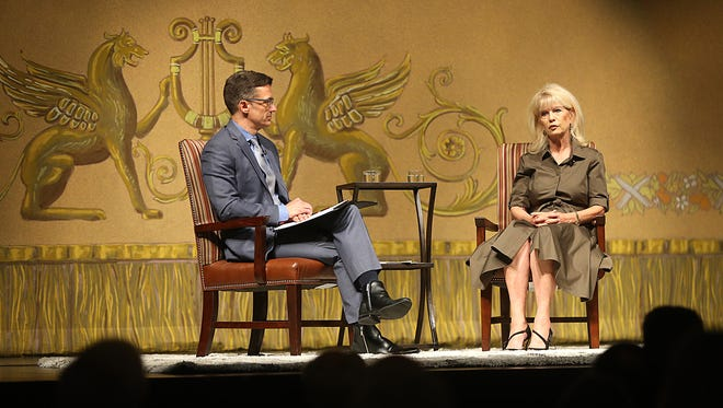 Mayor Brenda Gunter is interviewed by Anthony Wilson, the San Angelo's public information officer, during the State of the City address at the Murphey Performance Hall in the City Auditorium on Tuesday, August 8, 2018.