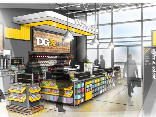 A view of the checkout area for stores under the new