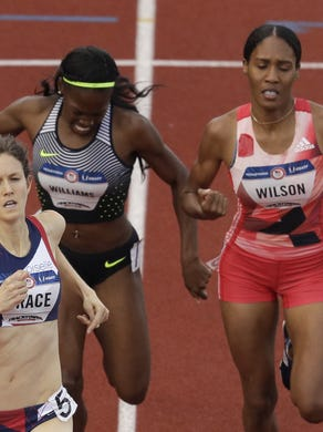 Neptune's Ajee' Wilson (right) takes second in the women's 800 at the U.S. Olympic track and field trials.