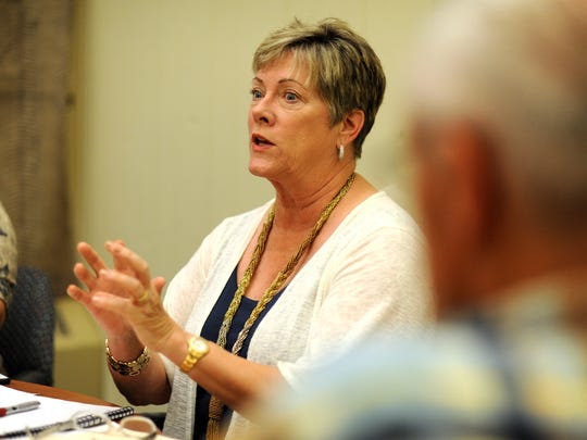 Donna Bailey meets with fellow volunteers at UNCA Tuesday afternoon, August 5, 2015.