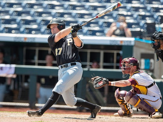 Purdue's Jacson McGowan doubled twice and drove in