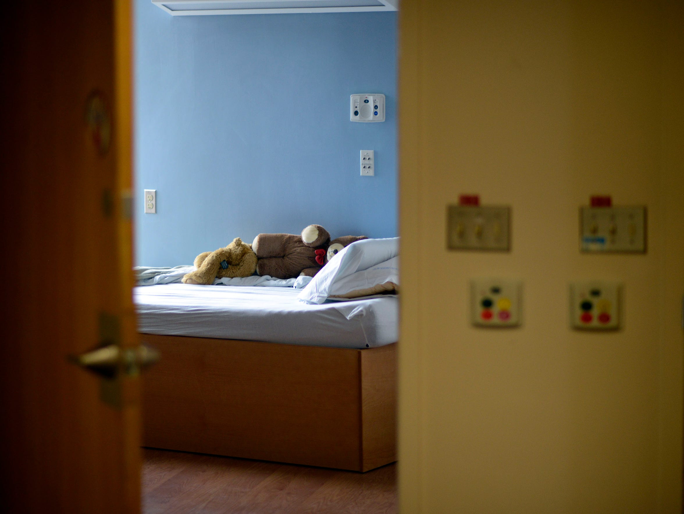 Stuffed teddy bears rest on a bed of a young psychiatric