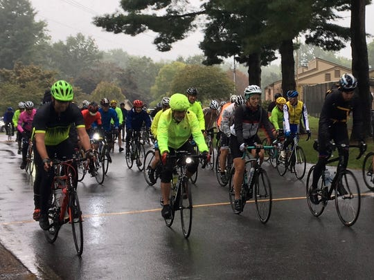 Tour de Valley cyclists take off from Ridgeview Park in Waynesboro, Va., on Saturday, Sept. 2, 2017.