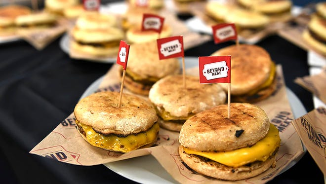 Beyond Meat showed off its new breakfast sausage at the company's new EL Segundo, Calif., office on July 19, 2018.