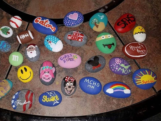 The original batch of rocks created by Martin County Rocks founders Cindy Rhude and her daughter Kaitlynn Byrne.