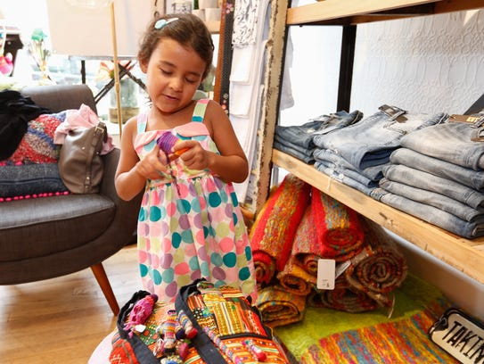 Sasha Weintraub, 5, from Nyack shops for back to school