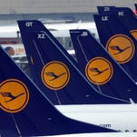 Aircraft of German airline Lufthansa at the airport in Dusseldorf, Germany, on April 22, 2013.