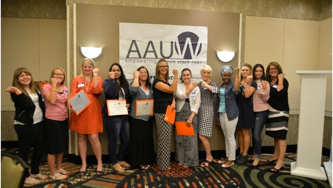 Recipients of the AAUW St. George Branch's 13 scholarships attend a luncheon May 4, 2015.