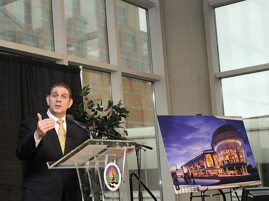Lansing Mayor Virg Bernero touted in 2012 the benefits of a casino in downtown Lansing. The tribe involved in the project is still waiting federal approval.