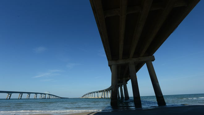 The Chesapeake Bay Bridge-Tunnel as seen from Fisherman Island, Va. on Tuesday, May 26, 2015.