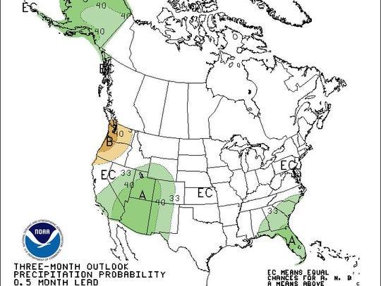 September through November probability of precipitation
