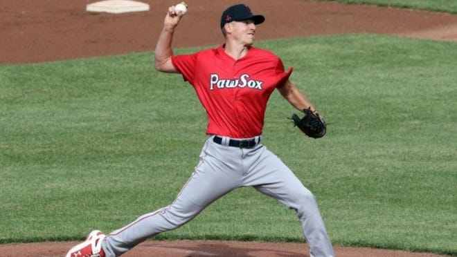 New Red Sox acquisition Nick Pivetta throws Monday at McCoy Stadium in Pawtucket.