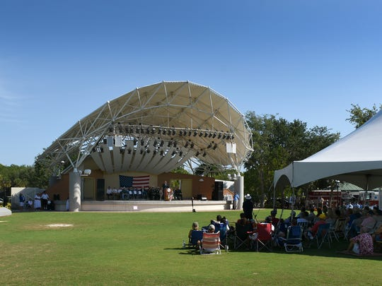 Most of the spectators stay under cover, out of the hot sun. The City of Bonita Springs commemorated Memorial Day with a ceremony Monday morning at Riverside Park.