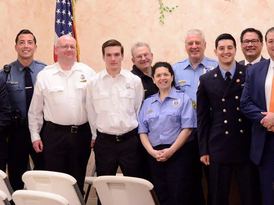 Recipients and presenters from Fanwood and Scotch Plains of the annual Shield Awards, bestowed on April 25 by the Knights of Columbus, Father John Nelligan Council, at St. Bartholomew the Apostle Church in Scotch Plains.