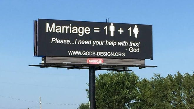 This photo shows a billboard designed by God's Original Design, a ministry group of Richard and Betty Odgaard, the former owners of the Gortz Haus in Grimes. The ministry says it plans to build 1,000 billboards like this one that in late July went up outside Durant, Okla.