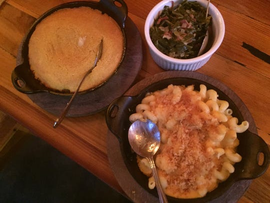 Spoonbread, more like a sweet cornbread, collards with