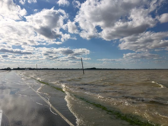Floodwaters on Little Missouri are seen here on Saturday, March 19. Waters from Boeuf River rose several feet in farm fields and lapped along the edges of LA 2.
