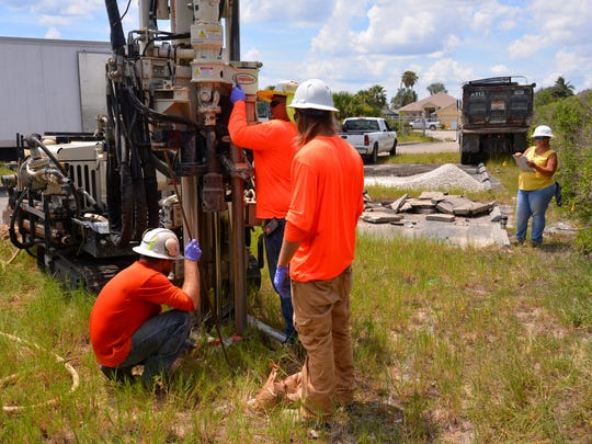 The city of Satellite Beach has hired Preferred Drilling Solutions Inc. to drill three shallow wells - one next to city hall, one between the old post office and DeLaura Middle School and one at the park across from Sea Park Elementary School. Erin McCarta, environmental scientist, will test the wells for contaminates and carcinogens after they are purged.